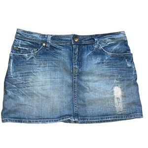 Marciano Denim Jean Skirt Distressed w/Gold Accent